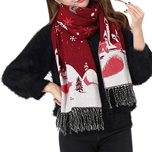 Christmas Gifts! Tootu Women Imitation Cashmere Tassels Christmas Snowflakes Warm Scarves (Wine Red)