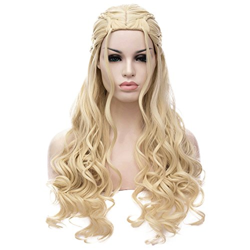 Bopocoko Game of Thrones Wigs Fluffy Cosplay Wig Daenerys Targaryen Long Curly Blonde Hair Wigs for Women Halloween A-BU121 (Halloween Hair Wigs)