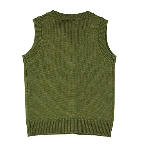 Mini Phoebee Boys' V-Neck Button Front Merino Wool Blend Cardigan Sweater Vest 9T Green by Mini Phoebee (Image #1)