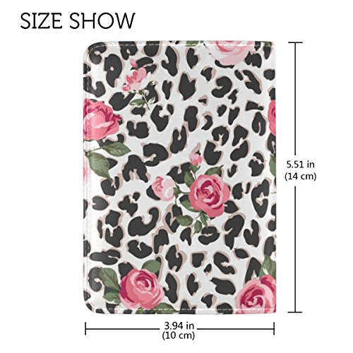 COOSUN Cute Rose Mix Leopardenmuster Leder Reisepass Hülle für Travel One Pocket