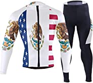 Cindly German Flag with The Eagle Men's Bicycle Jersey Full Sleeve Padded Bike Pants Compression Cycle Clo