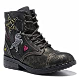 WOBAOS Girls'/Women's Hip Hop Fashion Sneakers (5 (B) M US, Black/Shining)