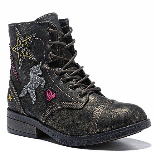 WOBAOS Girls'/Women's Hip Hop Fashion Sneakers (5 (B) M US, Black/Shining) by WOBAOS
