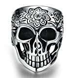 six star protein bar - Alimab Stainless Steel Boys Wedding Bands Flower Skull Silver