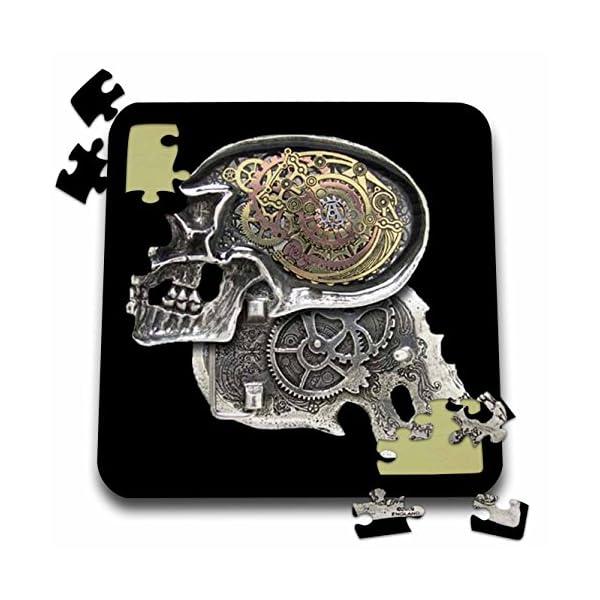 3dRose Dooni Designs Steampunk Designs - Steampunk Gothic Faux Metal Skull Image - 10x10 Inch Puzzle (pzl_102675_2) 3