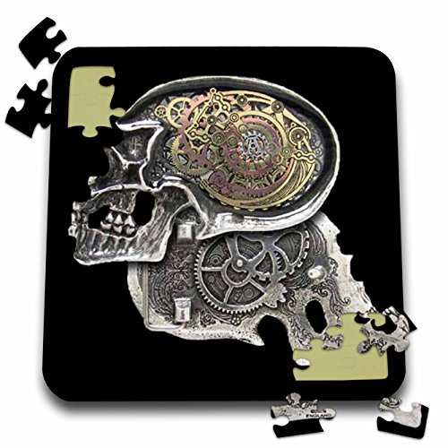 3dRose Dooni Designs Steampunk Designs – Steampunk Gothic Faux Metal Skull Image – 10×10 Inch Puzzle (pzl_102675_2)