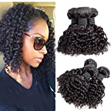 Brazilian Kinky Curly Human Hair Weave 3 Bundles, 8A 100% Unprocessed Virgin Brazilian Curly Virgin Hair Bundles Natural Black 300g (10 10 10)