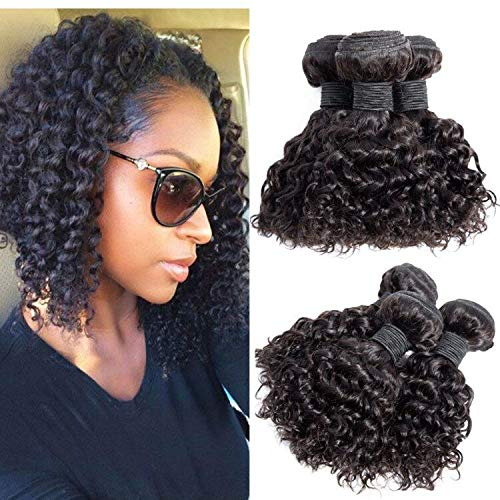 Brazilian Virgin Hair Kinky Curly Hair Bundles Virgin Brazilian Kinkys Curly Weave Human Hair Bundles Curly Bundles Natural Black Color(10 10 10) (Best Hair Products For Brazilian Weave)