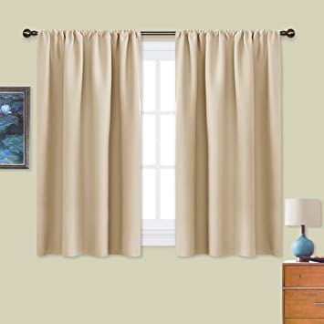 Black Room Darkening Curtains.Nicetown Blackout Room Darkening Curtains Home Decoration Light Noise Reducing Thermal Insulated Window Draperies With Rod Pocket Top Biscotti