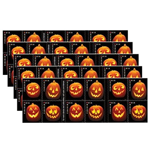 Jack-O'-Lantern Sheet of 20 USPS one-ounce rate Forever Postage Stamps Halloween Pumpkin (Halloween Postage Stamps)