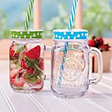 Mason Jar Mugs with Handle, multi COLORED Lids and Plastic Straws. 16 Oz. Each. Old Fashion Drinking Glasses - pack of 4 by Premium Vials