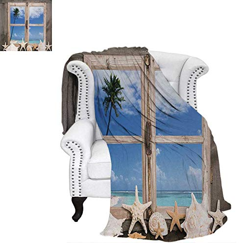 - Weave Pattern Blanket Summer Holiday wih Seashells Starfish and Palm Tree Ocean Print Custom Design Cozy Flannel Blanket 80