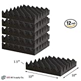 12 Pack Eggcrate Acoustic Foam Sound Proof Foam Panels Noise Dampening Foam Studio Music Equipment 1.5'' x 10'' x 10''