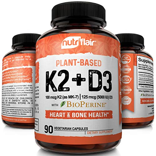 NutriFlair Vitamin K2 (MK7) with D3 5000 IU Supplement with BioPerine (Black Pepper) for Immune System Support, Strong Bones and Heart Health (90 Tiny Easy to Swallow Vegetable Capsules) (Best K2 Supplement Brand)
