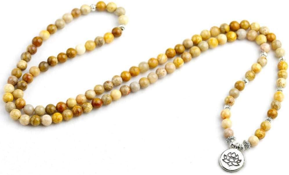 HYMWAN Pulsera De Coral Fosilizada 108 'S 6 Mm De Las Mujeres Pulsera O Collar De Cuentas De Los Hombres De Loto Regalo De Cumpleaños De La Joyería De Lotus