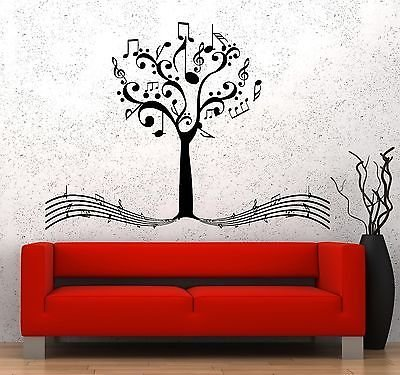 Wall Vinyl Music Notes Tree For Bedroom Guaranteed Quality Decal VS3529