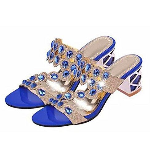(Dear Time Women Summer Fashion Mid Heels Sandals Blue US 6)