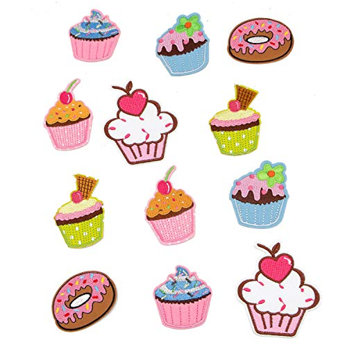 JETEHO 12Pack Ice Cream Fabric Patches Sticker Cartoon Embroidered Donut Patches for Iron On Sewing Kids -