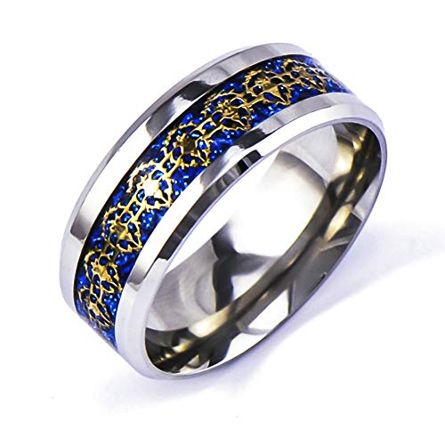 (Sping Jewelry Blue World of Warcraft Alliance Sign Ring Gold Icon Inlay Titanium Steel Gamer Band Unisex)