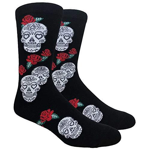 (Urban-Peacock Men's Novelty Fun Dress Socks (Multiple Patterns to Select From) (Skull & Roses - Black, 1 Pair))