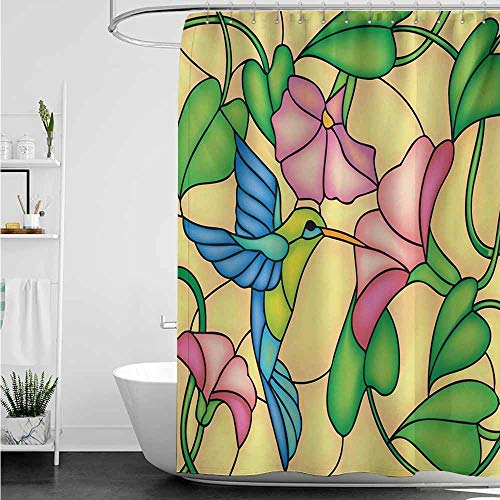 - home1love Shower stall Curtains,Hummingbird Stained Glass Style Bird and Hibiscus Tropical Flora and Fauna Illustration,Fashionable Pattern,W60x72L,Multicolor