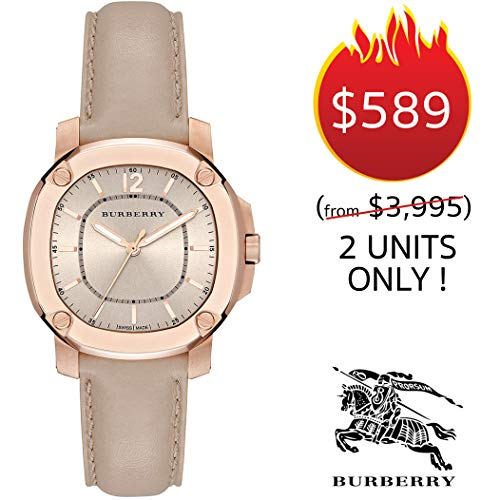 Burberry Swiss The Britain LumiNova Womens Unisex Luxurious Rose Gold Watch Trench Leather Band BBY1503