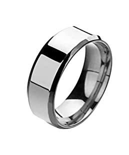 Wintefei Fashion Simple Unisex Lovers Stainless Steel Mirror Finger Rings Jewelry Gifts - Silver US 8