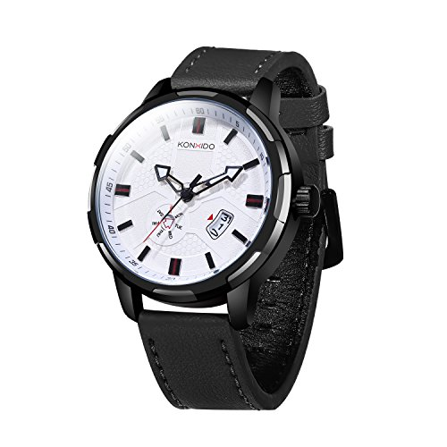 KOSSFER Men's Ultra-Thin Quartz Analog Date Wrist Watch with Black Leather Strap Round watch featuring Roman numeral hour markers, date window Watch White