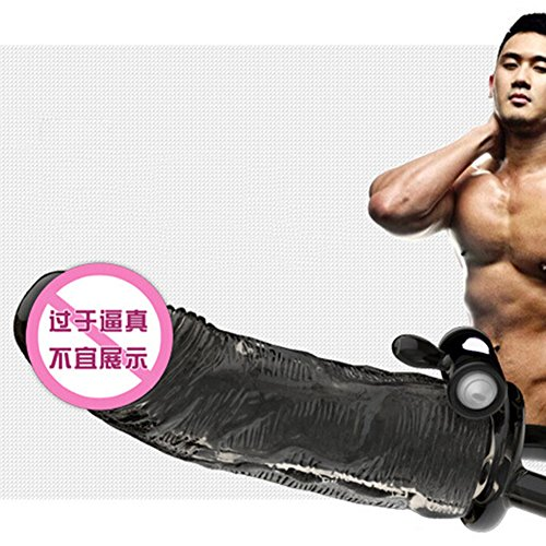 Man Extender Enhancer Condom Penis Sleeve Extention Erection Impotence Aid - Black