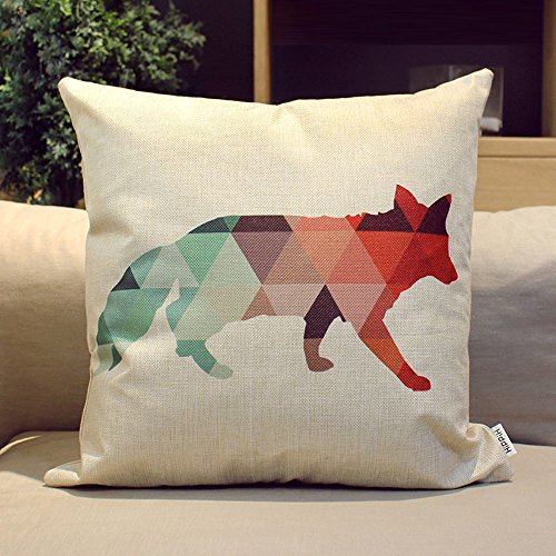 HIPPIH 4 Packs Square Pillow Cover - 16 X 16 Inch Decorative Throw Pillowcase, Geometric Animals by HIPPIH (Image #2)