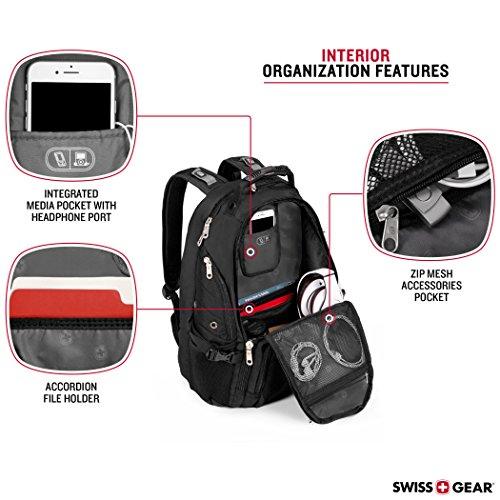 SwissGear Travel Gear 1900 Scansmart TSA Large Laptop Backpack for Travel, School & Business - Fits 17' Laptop - Black/White