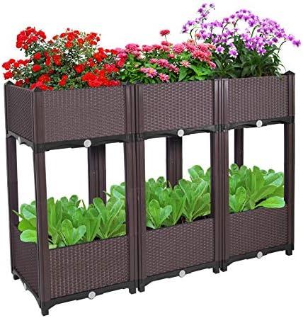 D vine Dev Planter Raised Beds – Elevated Planter Garden Box for Vegetable Flower Herb Outdoor Standing Planter Beds