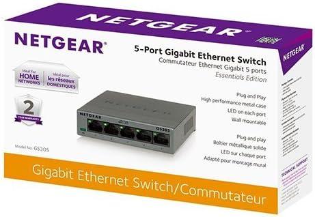 NETGEAR GS305-100PAS 5-Port GIGABIT 10//100//1000 Ethernet Switch SOHO UNMANAGED Plug N Play