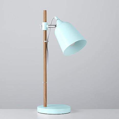 MiniSun - Lámpara de mesa Roscoe de estilo escandinavo - cabezal ajustable y acabado en azul y haya