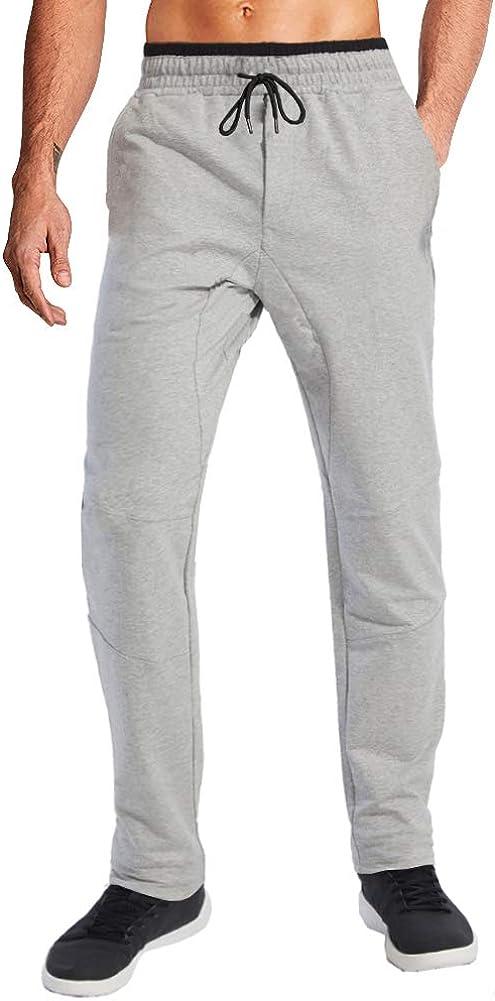 Wohthops Men's Lightweight Sweatpants Workout Running Pants Open Bottom Drawstring Elastic Waist Pants with Zipper Pockets