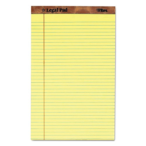 (TOPS 7572 the Legal Pad Ruled Perf Pad, Legal/Wide, 8 1/2 x 14, Canary, 50 Sheets, Dozen)