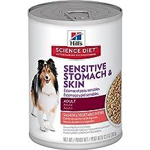 Hill's Science Diet Adult Sensitive Stomach & Skin Wet Dog Food, Salmon & Vegetable Entrée Canned Dog Food, 12.8 oz, 12 Pack