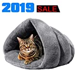 iphonepassteCK Plush Cat Bed Soft Pet Bed for Winter Cozy Sleeping Bag for Dogs Warm Puppy Bed Small Animals Cat Cave, Gray For Sale