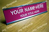 Custom Engraved 2x8 Pink Name Plate | Personalized Customized With Silver Desk Holder
