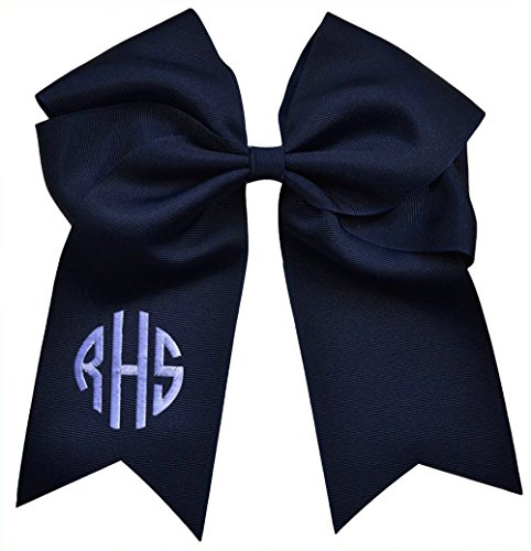 Funny Girl Designs Custom Circle Monogram Embroidered Elastic Ponytail Cheer Bow 7.5 Inches Long (White)