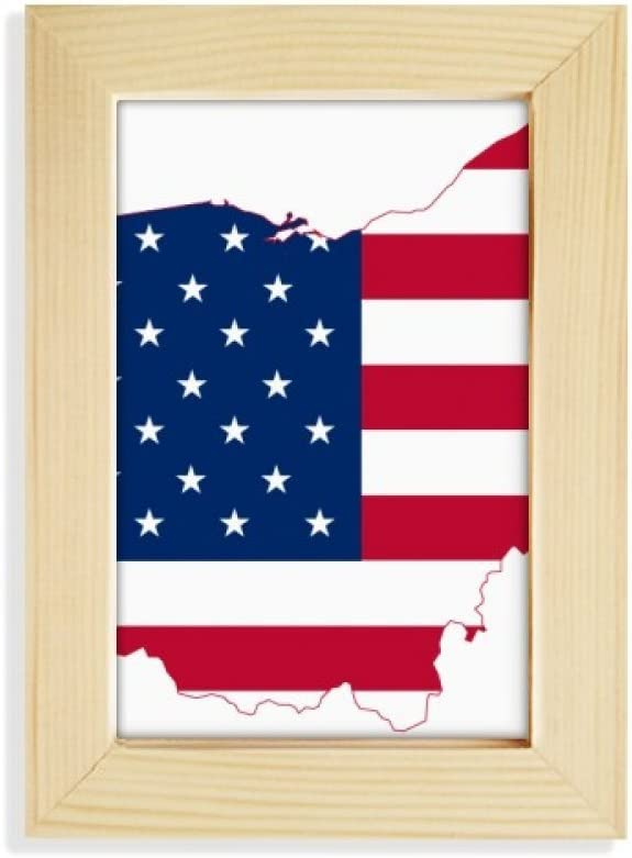 DIYthinker Ohio USA Map Stars Stripes Flag Shape Desktop Display Photo Frame Picture Art Painting 5x7 inch