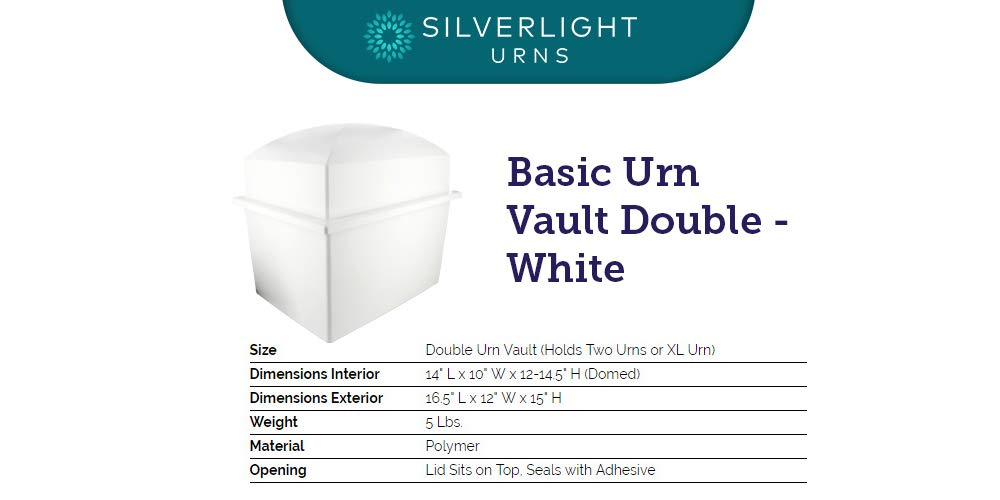 Silverlight Urns Basic Urn Vault Double, Companion Urn, 16 5 x 12 x 14 5  inches, Holds 2 Urns for Burial