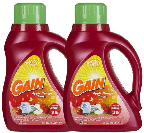 Gain HE Liquid Detergent - 50 oz - Apple Mango Tango - 2x Concentrated - 2 pk