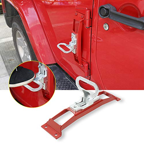 JeCar Jeep Doorstep Foot Pegs Metal Folding Step Ladder Door Hinge Foot Pedal Easy Access to Car Rooftop for 2007-2017 Jeep Wrangler JK & Unlimited (Red)