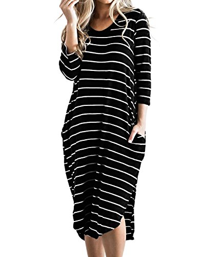 CNFIO Women T Shirt Dress Oversized Boho Stripes Dress Autumn 3/4 Long Sleeves Dresses with Pocket
