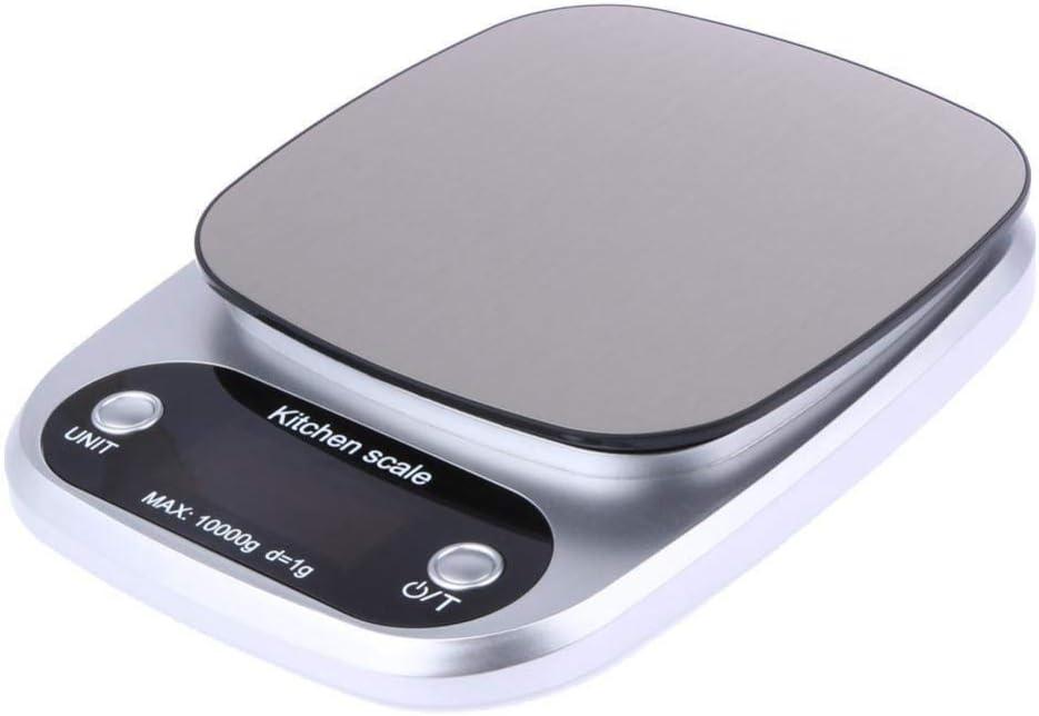 MWPO Bilance da Cucina Peso per Cottura al Forno Digitale LCD Bilancia Elettronica 10 kg (Argento) Gray Black