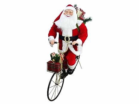 Babbo Natale In Bicicletta.Mazzeo Giocattoli Pupazzo Babbo Natale In Bicicletta 150cm Amazon