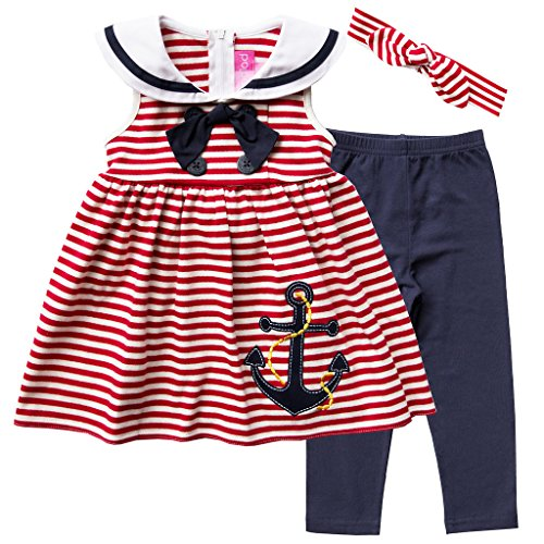 Good Lad Infant Girls Nautical Dress with Headband and Legging (18M) Red -