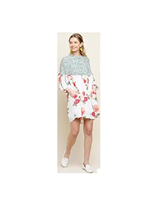 855cf56eeb Women's Floral Mixed Print Long Sleeve Button Neckline Dress with Pockets  (Small) Cream