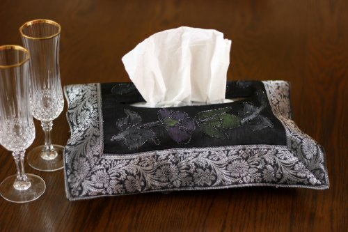 Hand Painted Deluxe Floral Tissue Box Cover (Mystic Black)